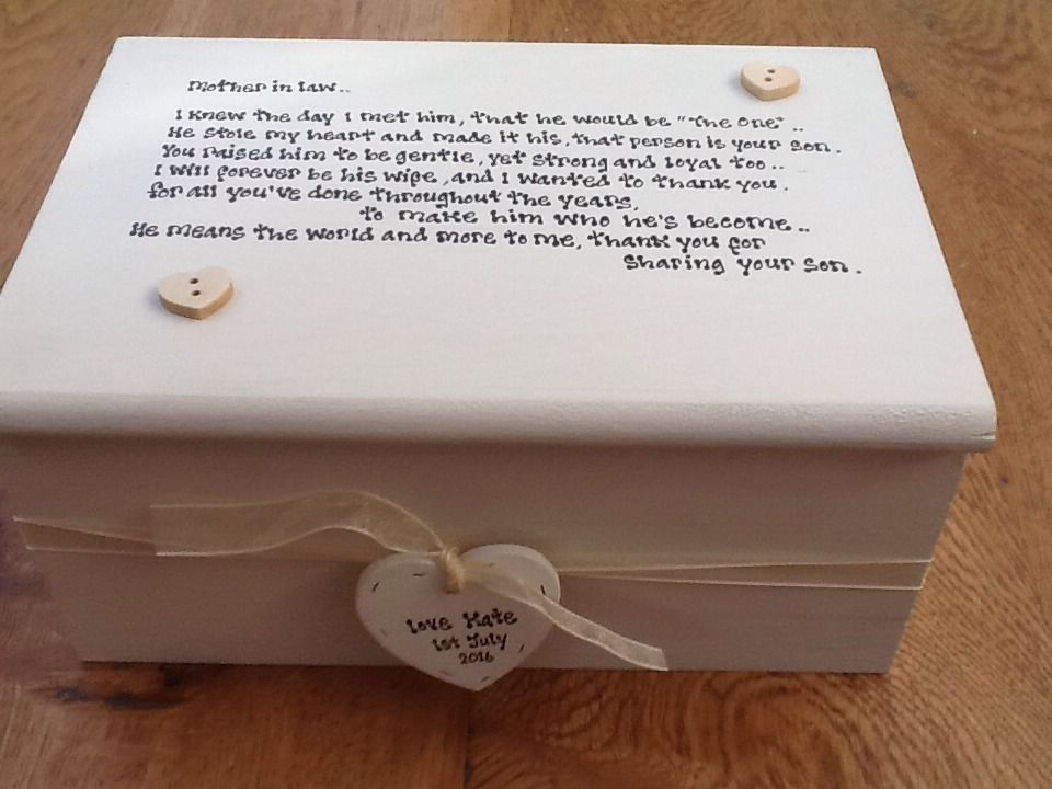 Mother Of The Groom Gift: Shabby Personalised Chic Jewellery Box Mother Of The Groom